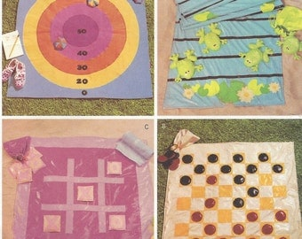 Childs Fabric Travel Games Bean Bag Toss, Checkers, Tick Tac Toe, Leap Frog OOP Butterick Sewing Pattern 3486 UnCut