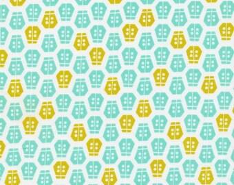 Aneela Hoey Vignette Ladybug Turquoise Cloud9 Organic Fabric