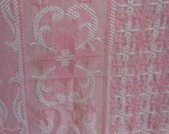 REDUCED Coverlet Woven Cotton Blanket Cover Fringe Pink White