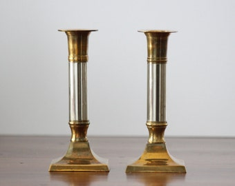 Brass Candle Holder Pair, Candle Holder Set, Set of Two Candlesticks, Taper Holders, Two Tone Silver Brass, Brass Centerpiece, Brass Decor