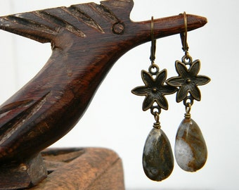 Beaded earrings ocean jasper teardrops earthy nature inspired jewelry handmade beaded jewelry flower earrings gift for her
