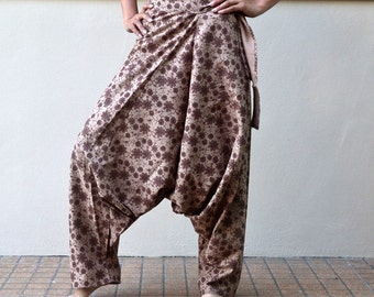 Aladdin Pants Trousers Hippie Boho Harem Ninja Pants Floral Print Long Pants in Khaki Brown PAE-2