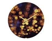 Round Wall Clock. Unique Home Decor. Bokeh. Glam. Dorm Decor. Sparkling Lights. Navy Blue. Gold. Night. Girly