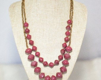 SALE Wakati Necklace -Plum Red