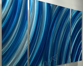 Abstract METAL blue painting art 3D effect Long wall decor original home office sculpture modern contemporary hand crafted by Lubo Naydenov