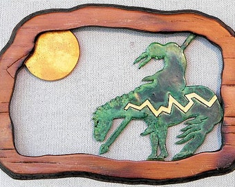 "End of the Trail with Setting Sun in Hollow Woodburned Pine 7.5"" x 5"" x .5"" Wall Hanging"