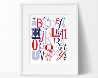 Alphabet print, Nautical alphabet, nautical printables, printable nursery art, nautical nursery, INSTANT DOWNLOAD, alphabet nursery art