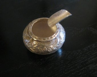 Antique Hand Forged Silver Portable Ashtray