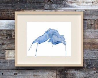 Lake Superior - Watercolor Art Print - Map - Great Lakes - Michigan - Canada - Midwest - Water - Blue - Nautical - Up North - Map Painting