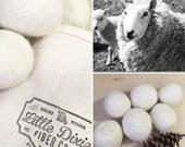 6 pack-100% Natural Wool Dryer Balls from Missouri Sheep