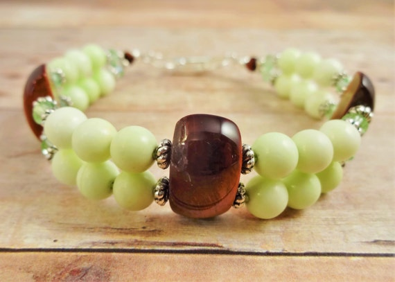 Red Tiger's Eye, Lemon Chrysoprase and Swarovski Bracelet, Lime green and brown jewelry, green stone bracelet
