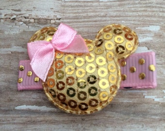 MINNIE MOUSE Gold Pink Sequin Hair Clippie Clip Babies Toddlers Girls