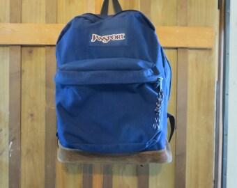 Vintage Jansport Backpack with leather bottom - Jansport navy blue backpack