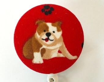 Bulldog Badge Reel - Dog Badge Holder - ID Badge Holder - Retractable Badge - Nurse Gift - Teacher Gift - Name Badge - Fabric Badge Reel