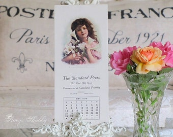 Antique Standard Press CALENDAR Page With Girl, Lilies, Flowers, Lithograph