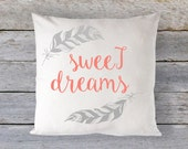 "Pillow Cover 16"" x 16"" - Sweet Dreams // Feathers // MANY COLORS  - Custom Colors welcome!"