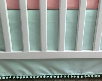 16 Colors // SOLID Color Crib Skirt with Pom Pom Trim // White, Black, Teal, Aqua, Red, Pink, Coral, Peach, Orange, P