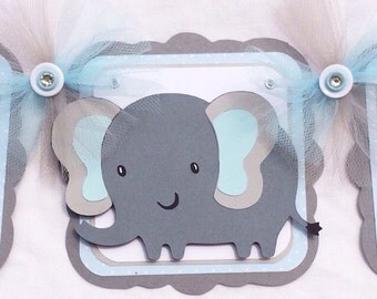 Elephant baby shower, elephant banner, elephant decorations, it's a boy banner, photo prop, table banner, handmade banner