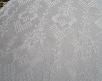 2 Pieces Vintage French White Cotton Damask Fabric Art Deco Geometric Design Fantasy Flowers