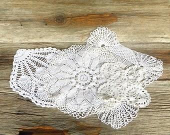 Hand Crocheted Doilies 5 White Cotton Doilies Large Pineapple Doily Cottage Chic Farmhouse Decor
