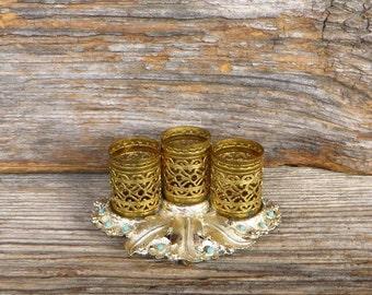 Lipstick Holder 3 Tube Filigree Vanity Lipstick Tube Holder with Turquoise Colored Beads 1960s Makeup Holder