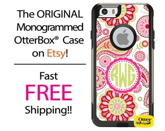 iPhone OtterBox Commuter Case for iPhone 7, 7 Plus, 6/6s, 6 Plus/6s Plus, 5/5s/SE, 5c Galaxy S7 S6 S5 Note 5 Monogrammed Spring Floral Case