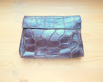Burnished Vintage 1930s-40s Alligator Clutch 10 inches x 8 inches