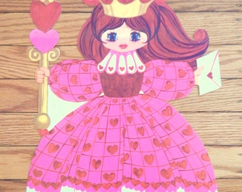 Vintage 1960s  1970s Valentines Day Decorations - 14.5 inches x 11.5 inches Valentine Princess