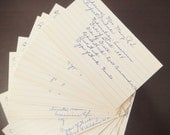 Handwritten 3 x 5 Index Cards of Authors for Repurposing, Set of 10, 1930's, DIY Gift Tags, Collage, Scrapbooking, Decoupage