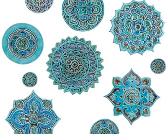 Mandala wall art made from ceramic - Set of 10 different size turquoise carved circles - ceramic tile - turquoise wall art