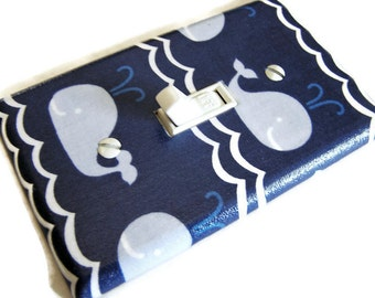 BLUE WHALES Light Switch Cover Plate Switchplate Sealife Nautical Decor