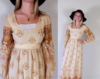 Half Off vtg 70s lace trim Bold FLORAL Print MAXI DRESS xs/s boho hippie orange tan yellow gold peasant mod