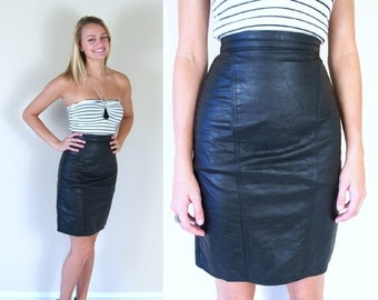 Half Off vtg 80s BLACK high waisted LEATHER SKIRT xs mini tight rocker fitted punk soft motorcycle indie dress pencil
