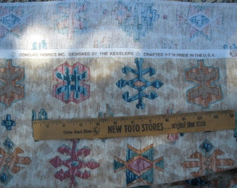 "Southwestern Woven Fabric 3.88 yards Teal & Tan Tribal Print 44"" wide x 140"" inches cotton Geo-print Kesslers Concord Fabrics barkcloth"