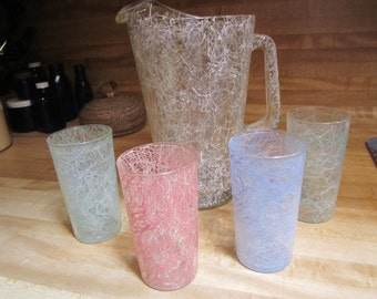 Vintage Spaghetti Glass Pitcher and Glass Beverage Drink Serving Set
