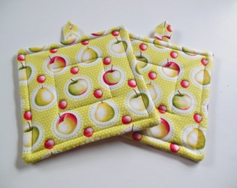 Potholders, Set of Two Quilted Potholders, Pair of Pear Potholders