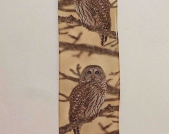 Realistic Owl Ribbon, Satin, Gently Wired, Natural Owl in Tree, 2 YARDS, 2.5 in. wide, Owls on Branches, Brown and Taupe, Birds