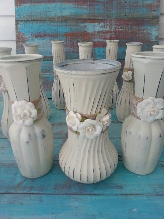 wedding vases painted vases shabby chic vases vintage vases. Black Bedroom Furniture Sets. Home Design Ideas