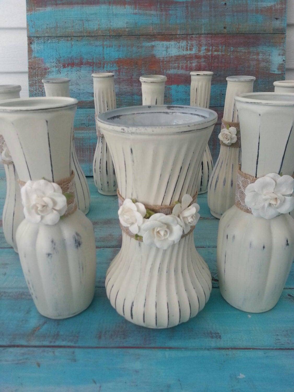 Wedding Vases Painted Vases Shabby Chic Vases Vintage Vases