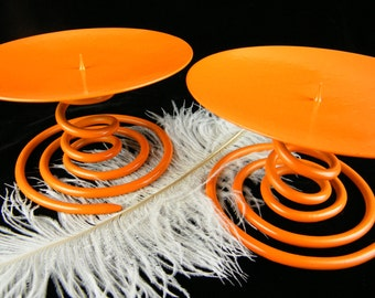 Orange Candle Holders / Large Pillar Candle Holders / Orange Home Decor / Pop of Color / Whimsical Playful Fun / One of a Kind