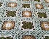 Lacey Flowers Crocheted Granny Square Throw