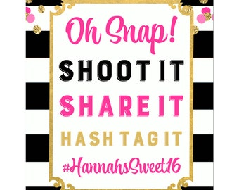 Personalized Photo Booth Sign Printable or Printed ANY Wording - Girl's Confetti Collection
