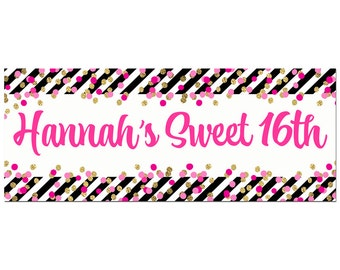 2x5' Sweet 16 or ANY Wording Big Banner - Printable or Printed -You Personalize - Girl's Confetti Collection