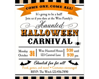 Halloween Carnival Invitation Printable or Printed with FREE SHIPPING - Big Top Stripe Collection