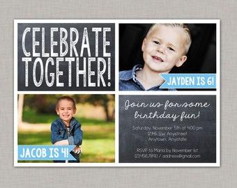 Twin Birthday Invitation, Sibling Birthday Invitation, Friends, Chalkboard