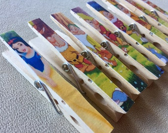 Snow White Birthday Favor Magnet Clips - Treat Bag Clips for the Snow White Princess Party - Seven Dwarfs