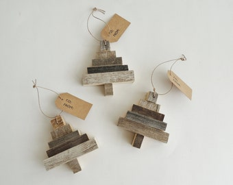 Rustic Tree Ornament, Recycled Wood Ornament, Barn Wood Tree, Rustic Christmas Ornament, Recycled Barn Wood Ornament, Abstract Tree Ornament