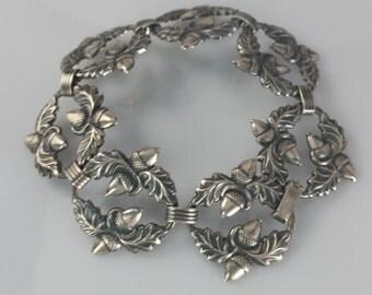 Vintage Danecraft Sterling Acorn Bracelet