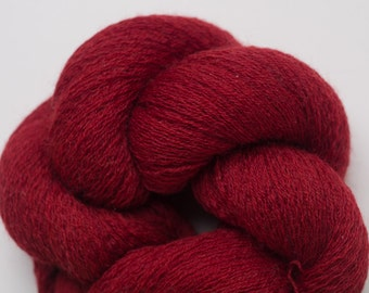 Red Pepper Merino Cobweb Weight Recycled Yarn