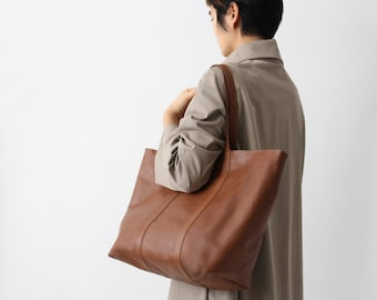 Leather Shopper, Large Leather Tote, Big Shoulder Bag, Nut Brown Leather with Dark Blue Cotton Lining